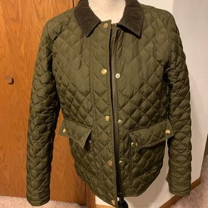 J Crew olive green quilted jacket